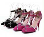 los zapatos de vestir franceses del estilo del dedo del pie de la señora al por mayor de Singapur, diamante artificial de las mujeres señalaron los zapatos