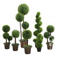 Anti UV Artificial Boxwood Triplicate Ball Wreath And Spiral Grass Plant Topiary Bonsai Tree