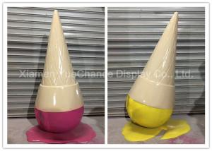 China Eco Friendly Customized Inverted Fiberglass Ice Cream Cone With Melting Cream on sale