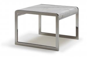 Quality Stainless Steel Rectangle Sofa Side Tables, Natural White Marble End Table for sale