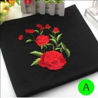 China Polyester Embroidered Iron On Patches Appliques With Boutique Rose Flower 19*14 cm on sale