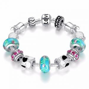 China Tibetan Silver DIY Charm Bracelet Jewelry with Green Acrylic Glass Beads on sale