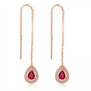 China Ladies Real Gemstone Jewelry Long Pear Rose Gold Ruby Earrings Teardrop on sale