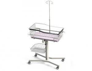 China Carbon Steel Hospital Baby Crib 4 Wheels Infusion Pole Frame Basket 3 Inch Caster Brake on sale