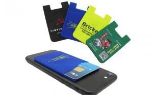 China Smartphone Silicone Credit Card Holder Full Color Printed Logo Light Weight on sale