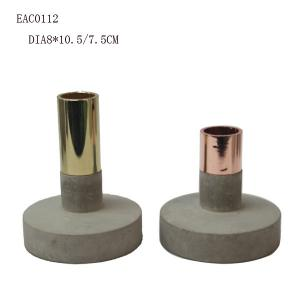 China Metal Floor Standing Concrete Candle Holder Handmake For Home Ornament on sale