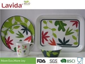 China Shatter Proof Tropical Melamine Dinnerware Sets , Tasteless Pure Melamine Crockery Set on sale