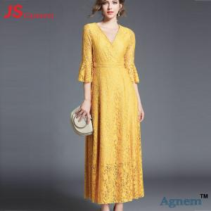 China Fashionable Elegant Cocktail Party Dress V Neck Ladies Summer Maxi Dresses on sale