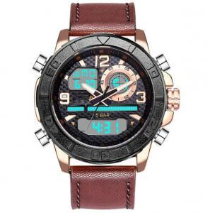 ae8095720f Leather Strap dual Time display analog digital watch best mens sport ...
