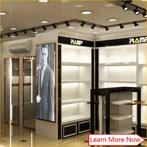 China Apparel store furniture, mdf white black painting metal clothing store furniture for clothes store display on sale