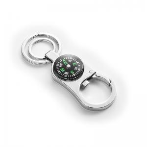 China Custom Compass Promotional Key Rings With Car Key Ring Chain Logo Epoxy on sale