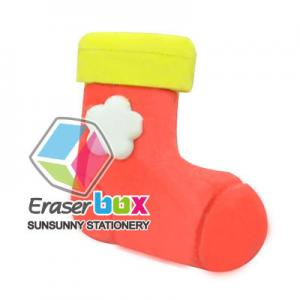 China SFH013 Sock shaped TPR funny eraser, novelty shaped erasers on sale
