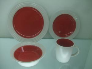 China Two-tones moon shape Ceramic tableware Porcelain 16pcs Dinner Set on sale