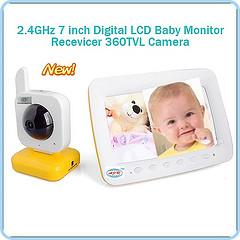 China 7 Inches TFT LCD 2.4GHz Wireless Baby Monitor with 380TVL on sale