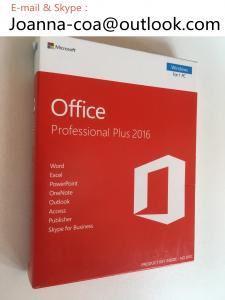 China Genuine Original Office 2016 Pro Plus OEM License Key , Coa Sticker & DVD Packing Box on sale