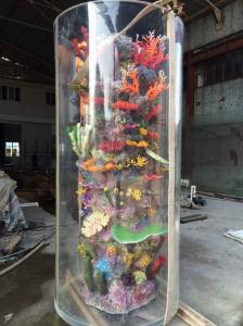 China Large Cylinder Acrylic Aquarium Tanks Custom Fish Tanks With Coral on sale