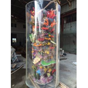 China Large Cylinder Acrylic Aquarium Tanks Custom Fish Tanks With Coral on sale