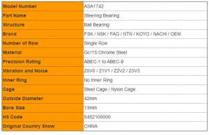 ASA1742 Steering Column Bearings 42mm × 13mm Universal Joint