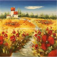 Heavy Impasto  Palette Knife  Painting Floral Poppies Handmade Thick Oil