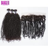 China Ear To Ear Raw Virgin Kinky Curly Hair 3 Bundles With Closure Shiny Soft on sale