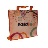 80g 4C Matt Coat Printing Shopping Bags, Non Woven Carry Bag With Orange Binding