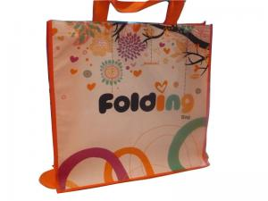 China 80g 4C Matt Coat Printing Shopping Bags, Non Woven Carry Bag With Orange Binding on sale