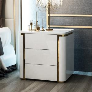 China Solid Wood Light Luxury Hotel Bedside Table on sale