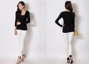 China Solid Black Thin Womens V Neck Sweaters in Long Sleeve , Acrylic Summer Casual Dresses on sale
