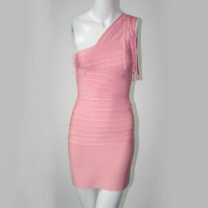 China 2014 one shoulder tassel hot pink dress party prom dress bandage dress on sale