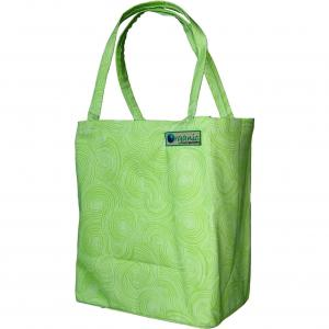 China Green custom reusable polyester folding shopping bag with round pouch on sale