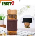 Unique glass bottle with bamboo lid 460ml wholesale water glass with removed tea strainer