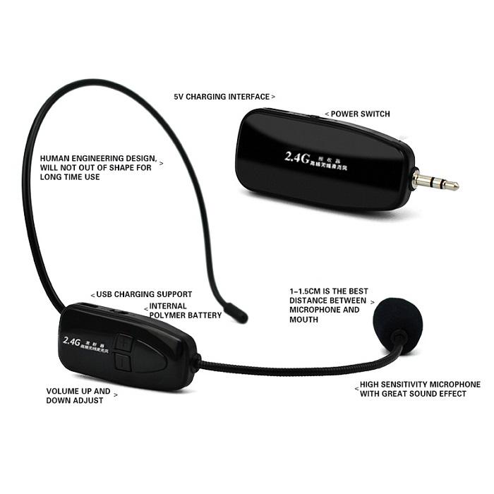 2 4Ggz wireless headset megaphone with high sensative and