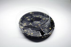 China Disposable plastic tray box, round sushi tray, take away food tray on sale