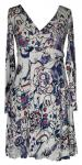 100 organic cotton clothes for women , Deep V Neck Ladies Long Sleeve Dress