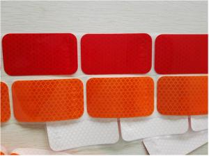 China Segmented Reflective Conspicuity Tape , Solid Red Amber Reflective Sticker Custom Printed SAE on sale