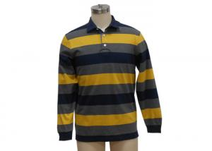 China Black And Yellow Mens Knitted Polo Shirt , Long Sleeve Collar T Shirt With Pocket on sale