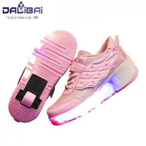 China Girls Fabrics LED Casual Shoes Kids Led Light Up Skate Roller Shoes on sale