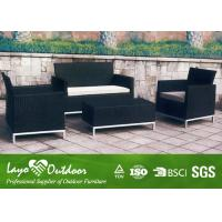 China Black Patio Outdoor Furniture 4PCS Rattan Sofa Set 12mm Thickness on sale