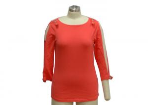 China High End Ladies Ribbed T Shirt , Trendy Summer Casual Outfits For 50 Year Old Woman on sale