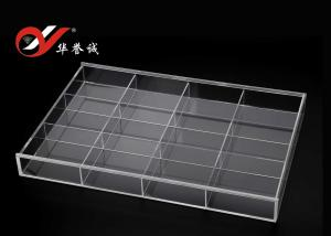 China 12 Grids Rectangle Acrylic Jewelry Organizer , Clear Acrylic Jewelry Box With Cover on sale