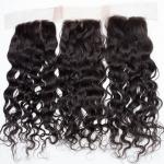Human Hair Swiss Lace Closure Malaysian Hair Extensions 4 X 4 Water Wave