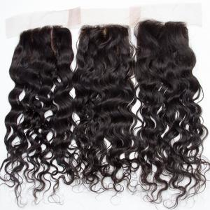 China Human Hair Swiss Lace Closure Malaysian Hair Extensions 4 X 4 Water Wave on sale