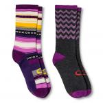 Women's Lifestyle Gray/Black Rugby Stripes Crew Socks