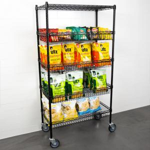 China 18 X 36 X 69  Black Epoxy 4 Wire Grid Baskets And 1 Shelf Kit In Retail Shop For Goods Display on sale
