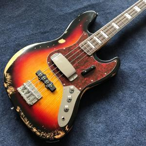 China Hot sell 1959 relic Jazz bass basswood body with 4 strings electric bass in sunburst color on sale