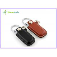 Luxurious Black / Brown Leather USB Flash Disk 4GB / 8GB with Key Ring