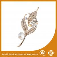 China Alloy / Silver Leaf Shape Jewellery Brooches For Wedding Dress on sale