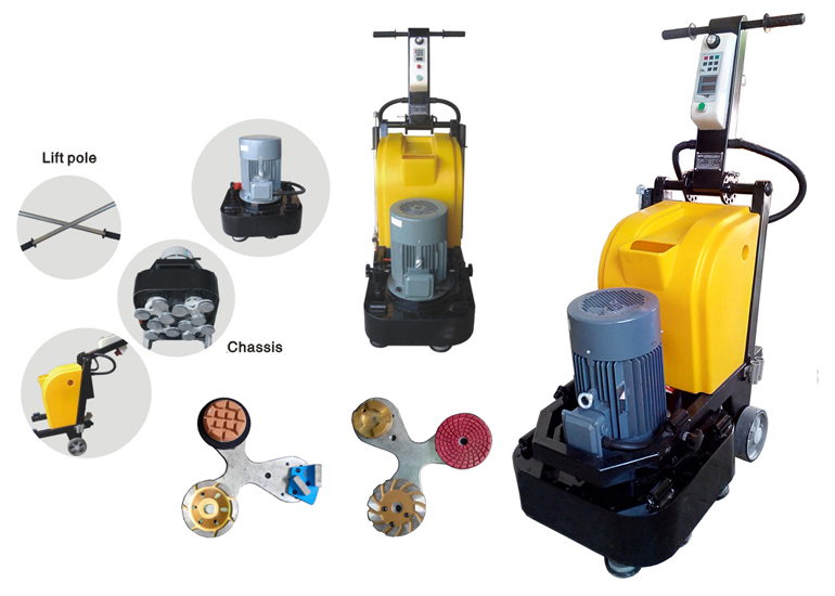 12 Heads Granite Floor Polishing Grinding Machine With Magnetic