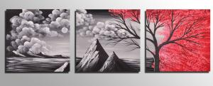 China Free shipping Framed 3 Panel oil paintings 100% Hand Painted Landscape Wall art Home Decor framed art On Canvas op474 on sale