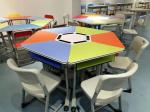 Colourful Six Joint Student Desk And Chair Set PVC Edge For Training Room